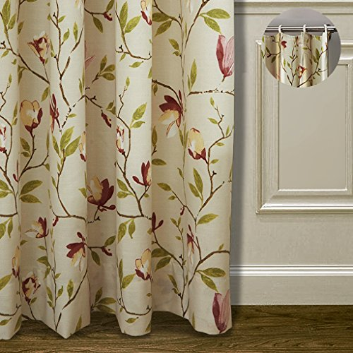 (ChadMade Premium 72W x 84L Pinch Pleated Country Botanical Flower Print Polyester Cotton Window Curtain Drapery with Blackout Lining On Back (1 Panel), for Bedroom, Living Room, Club, Restaurant)