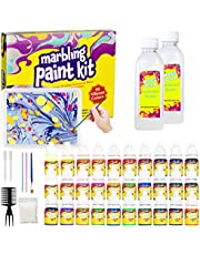 Marbling Paint Kit for Kids, Water Marbling Paint Set, ArtsandCraftsforGirls & Boys Ages 6-12, 30 Colors, Ideas for Kids Activities Age 4 5 6 7 8 9 10 Marble Painting