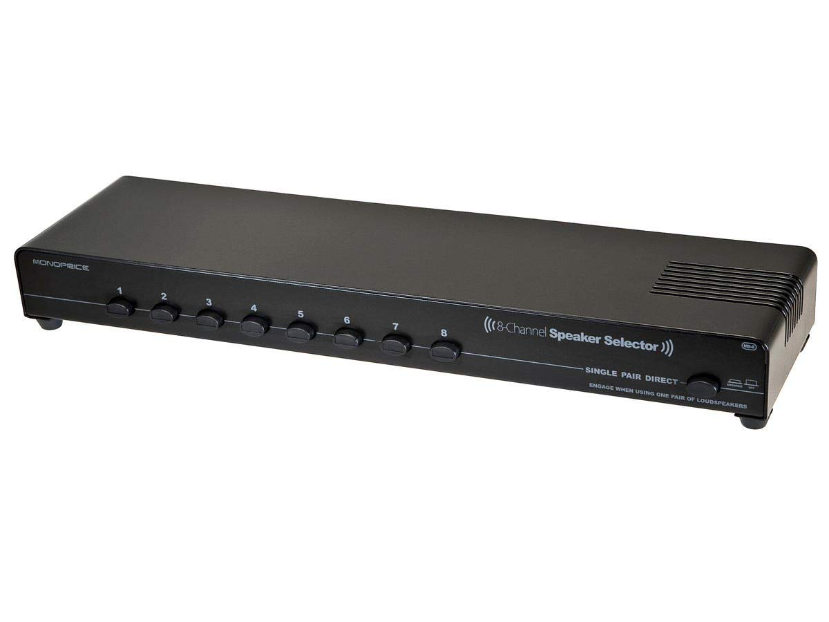 Monoprice 8-Channel Speaker Selector - Black With Impedance Matching Protection, Up To 200 WattsPer Ch. Perfect for Home Theater Audio