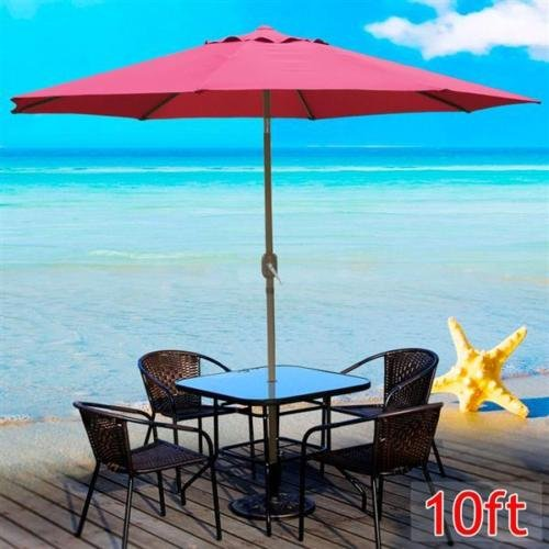 102' Aluminum Umbrella (Umbrellas NEW Crank Tilt Burgundy 10 ft Aluminum Outdoor Patio Beach Market Yard w)
