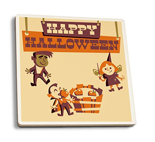 Lantern Press Apple Bobbing - Retro Halloween (Set of 4 Ceramic Coasters - Cork-Backed, Absorbent) ()
