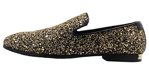 Santimon Mens Mode Sten Sequined Slip-on Loafers Skor Klänning Aftonskor Guld