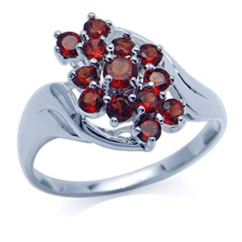 (Natural January Birthstone Garnet 925 Sterling Silver Cluster Ring (8) )