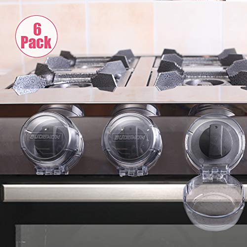 Eudemon Clear 6pack Safety Children Kitchen Stove Gas Knob Covers (6 Pack, Grey)