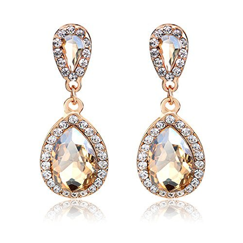 Jewelry Rhinestone Studded Teardrop Artificial Crystal with Bling Stone Fashion Clip On Women Drop Dangling Earrings (Gold)