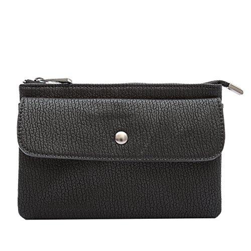 Messenger Melie Bianco (Melie Bianco Andy Vegan Leather Compact Gray Clutch Wristlet Crossbody Handbag Black)