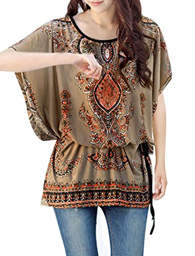 Women Round Neck Batwing Sleeve Semi Sheer Multicolor Tunic Shirt