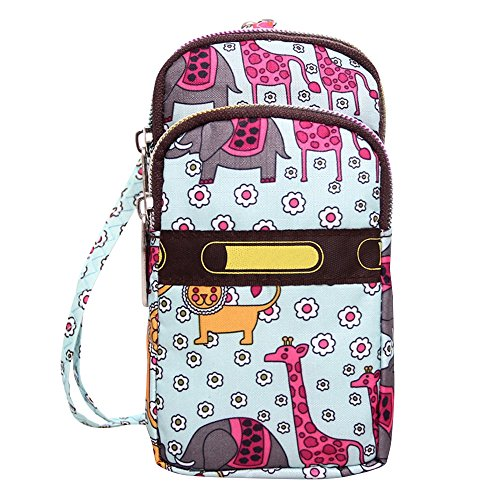 Wocharm Cell Animal of Nylon Colourful World Handbags Crossbody Mini Purse Wristlet Phone Womens rH6ax7nr