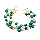 Natural Turquoise Multi-Strand Link Bracelet in 14K Gold-Plated Sterling Silver