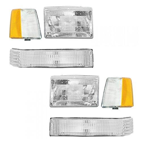 Headlights & Parking Corner Lights Left/Right Pair Set for 93-96 Grand Cherokee ()