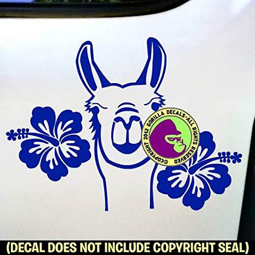 HIBISCUS LLAMA Love Llamas Farm Vinyl Decal Sticker C