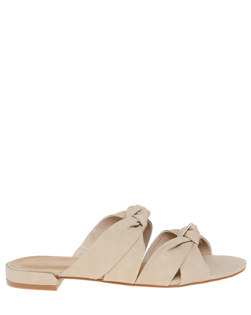 LE CHÂTEAU Women's Knotted Double Band Slide Sandal,8,Nude