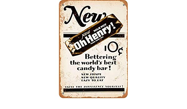 AmyyEden 1927 Oh Henry Candy Bar Cartel de Metal de Aspecto ...