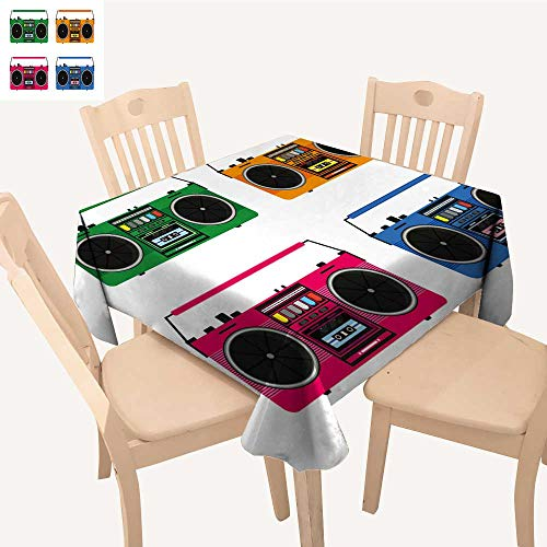 UHOO2018 Square/Rectangle Indoor and Outdoor Tablecloth Flat Vintage Tape recorders Set for Audio Cassettes musi Boombox Restaurant Party,50x 50inch ()