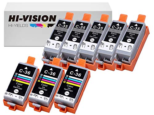 - HI-Vision Compatible PGI-35+CLI-36 Pigment Compatible (5-Pack) Black & (3-Pack) Tri Color Ink Cartridge Replacement for Pixma iP100, iP110