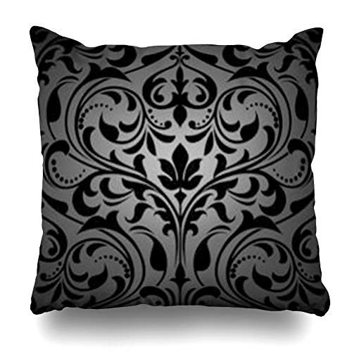 - Decor.Gifts Throw Pillow Covers Design Gothic Damask Floral Pattern Royal Flowers On Leaf Abstract Black Victorian Antique Carpet Cushion Case Square Size 20 x 20 Inches Home Decor Pillowcase