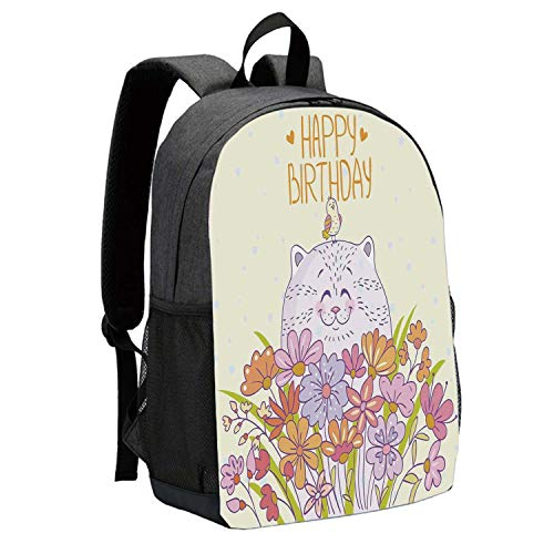Birthday Decorations Durable Backpack,Adorable Happy Cat Bird Meadow Flower Bouquet Positive for School Travel,12
