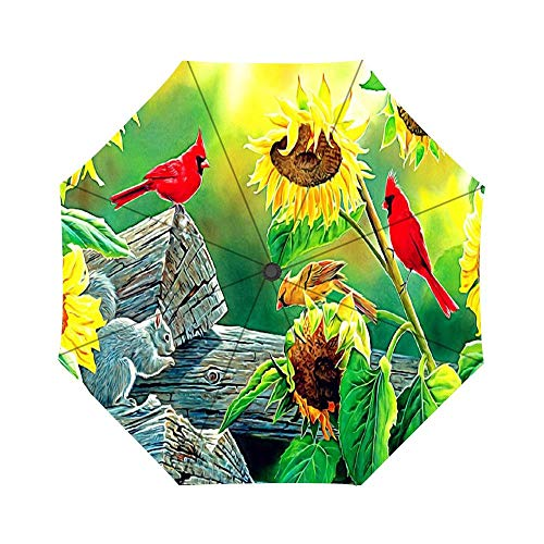 - Travel Umbrella Auto Open Compact Folding Sun & Rain Protection Umbrella with UV Protection Windproof - Sunflower Birds Animals Cardinals