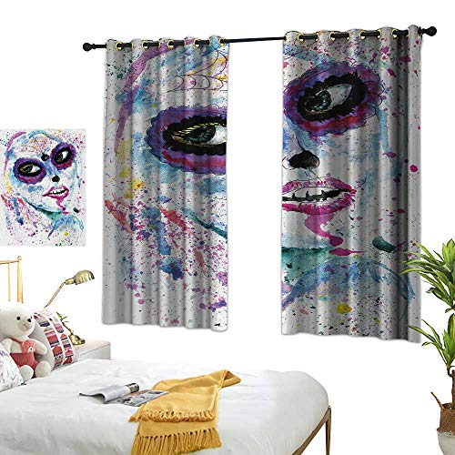 Bedroom Curtains W72 x L45 Girls,Grunge Halloween Lady with Sugar Skull Make Up Creepy Dead Face Gothic Woman Artsy,Blue Purple Room Darkening Curtains for Childrens Living Room Bedroom -