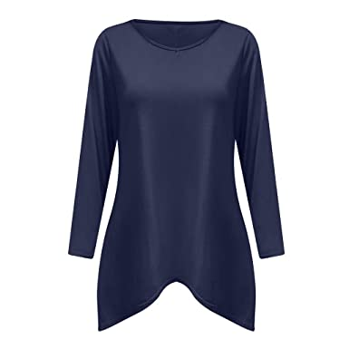 0d4356e62827b ... De Manga Larga Camisas Manga Larga Sweatshirt Color Sólido Casual Blusas  Túnica Tops Blusas para Mujer De Moda 2017  Amazon.es  Ropa y accesorios
