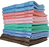 """Luxurious Washcloths – Set of 12 – Size 13"""" x 13"""" – Thick Loop Pile Washcloth – Absorbent and Soft 100% Ring-Spun Cotton – Lint Free Face Towels – Wash Cloths Perfect for Bathroom – Vibrant Colors"""