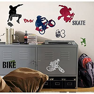25 New EXTREME SPORTS WALL DECALS Skateboarding Biking Stickers Boys Room Decor