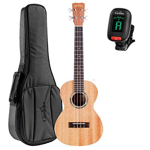 Cordoba 15TM Tenor Acoustic Ukulele with Cordoba Deluxe Gig Bag and Tuner by Cordoba