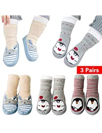 Unisex Baby Winter Crew Socks Antiskid Cotton Walker Sock for Toddler and Infant