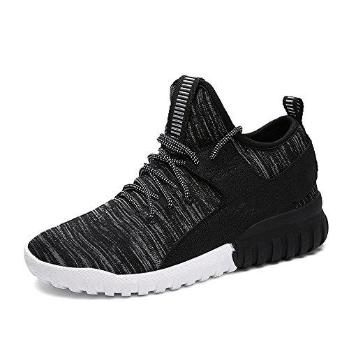 WZG El calzado casual nueva moda juvenil otoño transpirable zapatillas de alto-top de los hombres pop organizaciones de la mosca Black
