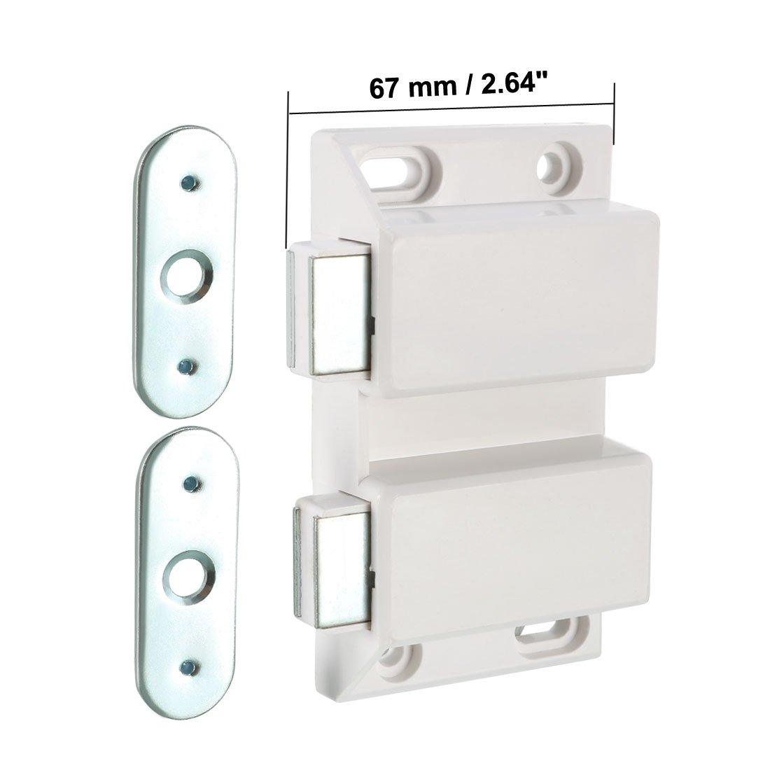uxcell Double Magnetic Touch Press Catch Latch Plastic White for Cabinet Door Shutter 5Pcs by uxcell (Image #3)