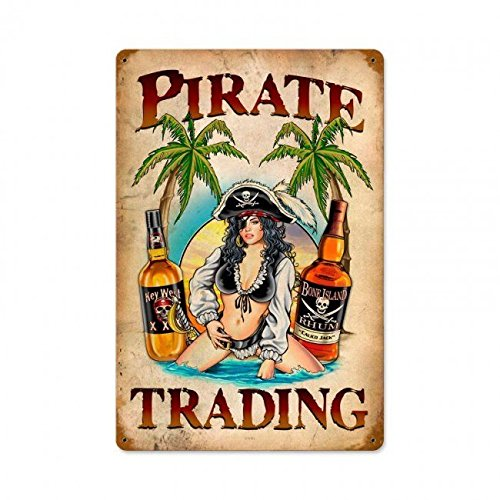 (American Collectibles Pirate Trading Pin Up Girl with Rum Bottles on Beach Metal Sign)