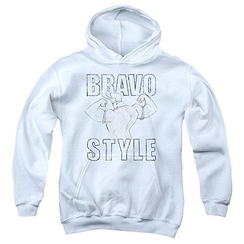 Johnny Bravo Bravo Style Big Boys Pullover Hoodie White SM