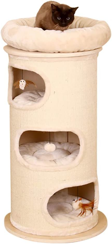 DJLOOKK Árbol rascador para Gatos Tubo de sisal Gato Gato Gato de Madera Maciza Marco de Escalada Gato Grande Una Plataforma de Salto para Gatos Gato Que rasguña el Juguete del Gato: