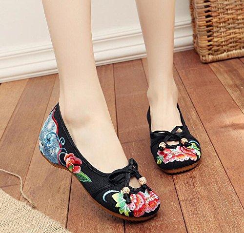 Loafer Schuhe Vintage Schwarz Stil Dame Chinesischen Frauen Gummisohle Lazutom Stickerei q8Cw0z5E