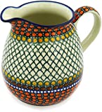 Polish Pottery 6 Cup Pitcher made by Ceramika Artystyczna (Orange Tranquility Theme) Signature UNIKAT + Certificate of Authenticity