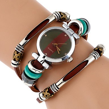 Amazon.com: Fashion Watches Genova Platinum Top Women Premium Genuine Leather Watch Triple Bracelet Watch Butterfly Charm Wristwatch Fashion Para Femme ...