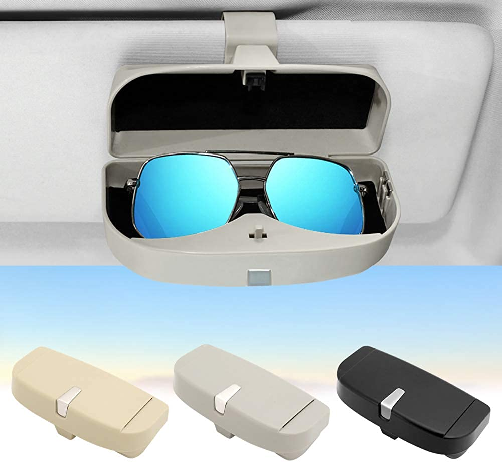 Rumfo Universal Car Glasses Case Clip 2 Card Slots and Magnetic Zone Large Space Storage Strong Buckle Multi-functional