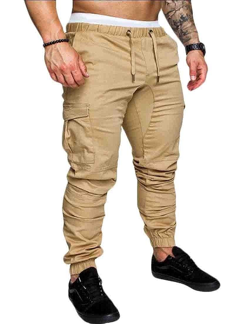 YY-qianqian Mens Harem Drawstring Solid Color Leisure Slim Multi-Pockets Jogger Pants