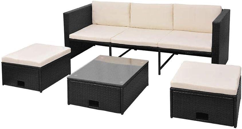 vidaXL Juego de Sofás de Jardín 4 Piezas Muebles de Exterior Mesa y Sillas Mobiliario de Patio Exterior Terraza y Poli Ratán Sintético Negro Mimbre: Amazon.es: Hogar