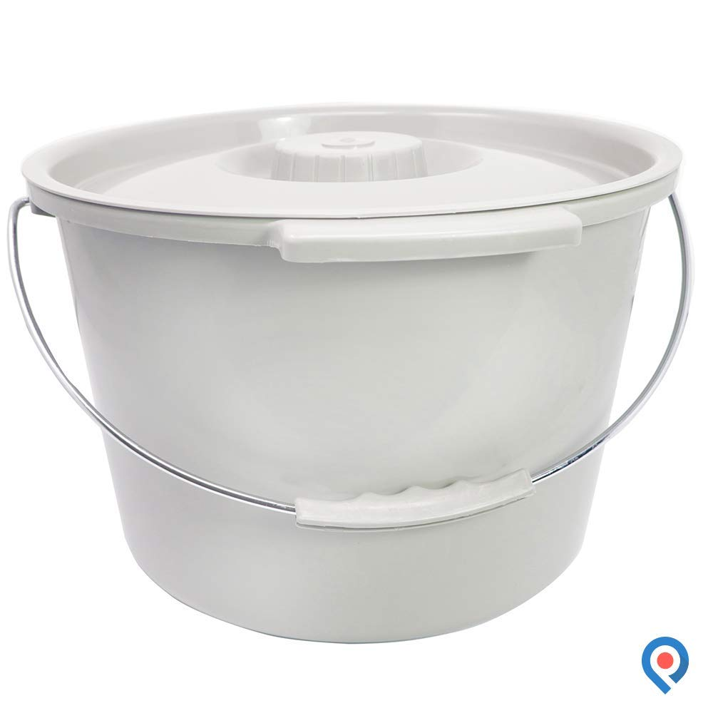 Pivit Replacement Commode Bucket | 12 QT. / 3 Gallons | Includes Lid and Metal Handle | Portable Universal Potty Pail Fits Any Bedside Medical Toilet | Heavy Duty with Side Handles & Odor Seal Cover
