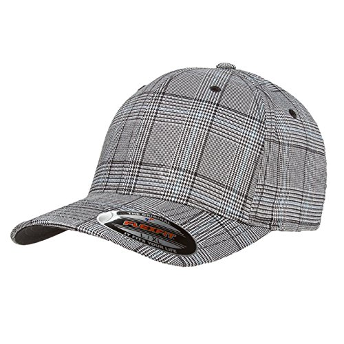 - 2040USA Flexfit Premium Original Glen Check Plaid Baseball Fitted Cap-6196 (Black/White-L/XL)