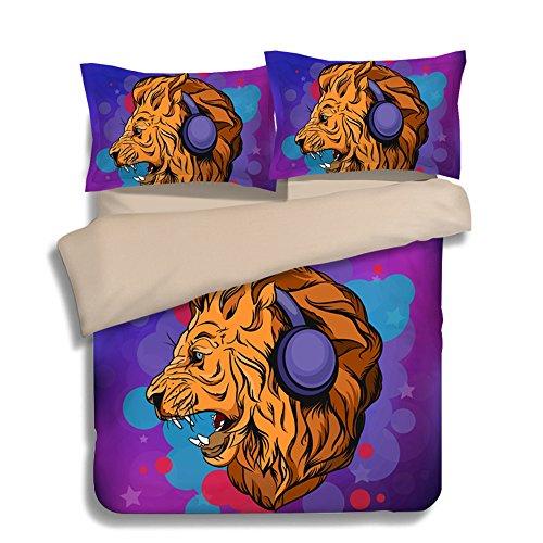 Fantastic Love Music Lion Cotton Microfiber 3pc 80''x90'' Bedding Quilt Duvet Cover Sets 2 Pillow Cases Full Size by DIY Duvetcover