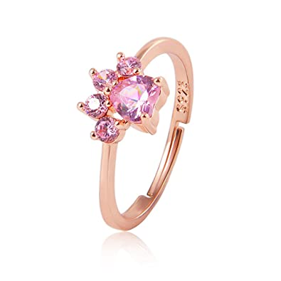 ed0ac75cee Amazon.com  Bear Paw Cat Claw Opening Adjustable Ring Rose Gold Dog Paw  Rings for Women Romantic Wedding Pink Crystal CZ Love Gifts Jewelry (Rose  Gold)  ...