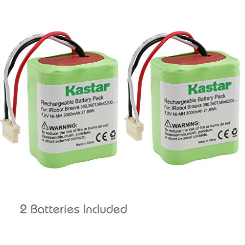 Kastar BRAAVA380 Battery (2 Pack), Ni-MH 7.2V 3000mAh, iRobot Mint 5200 Vacuum Cleaner Replacement Battery for IRobot Braava 380, 380T, Mint5200, 5200B, 5200C Floor Mopping Robots