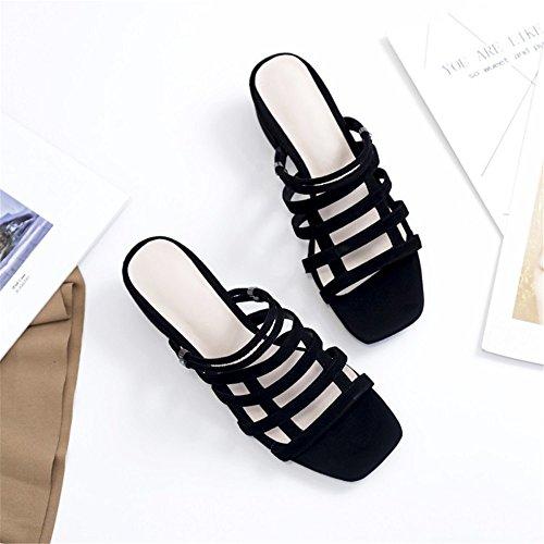 2 3 en 38 Couleur Yiwuhu Cuir des Chaussures Deux Taille avec Pantoufles Noir Noir Sauvage Porter EU Sauvage 6gOZg5xq