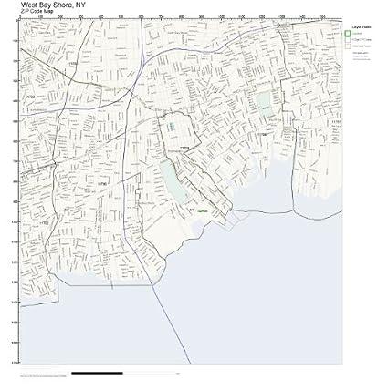 Amazon Com Zip Code Wall Map Of West Bay Shore Ny Zip Code Map