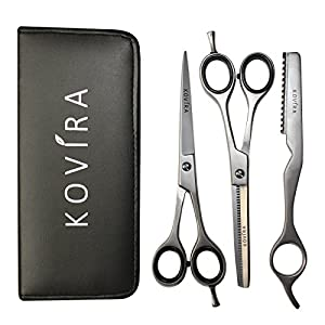 Hair scissors - 6.5 inch Hairdressing Scissors with Case- Barber Hairdresser Scissors and Thinning Shears/Cutting Scissors Set with Razor by Kovira Beauty