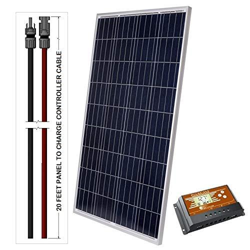 LightCatcher-Solar 100-Watt 12-Volt Polycrystalline Solar Panel Kit (Panel+PWM Controller + 20' Wire)