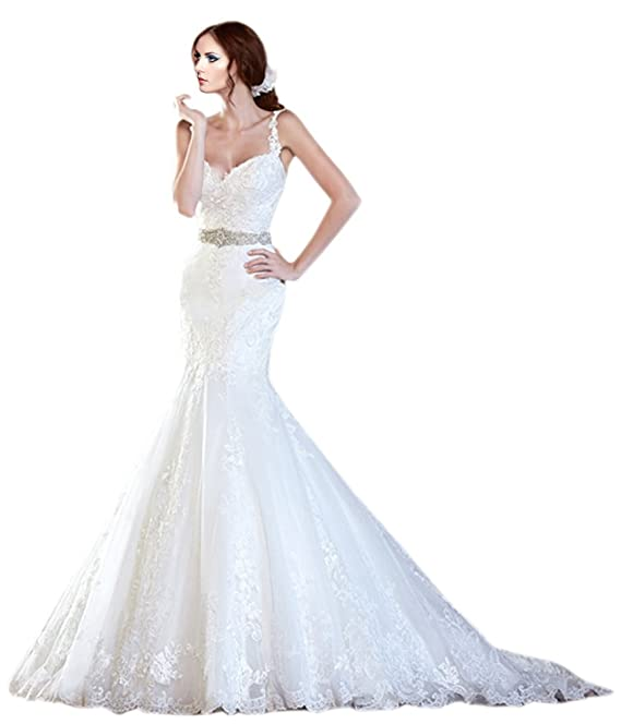 ZHUOLAN White Spaghetti Strap Mermaid Gown in Lace Wedding Dress at ...