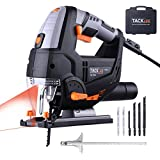 Jigsaw, Tacklife 6.7 Amp 800W Jig Saw with LED, Variable Speed Dial (1-6) with 6pcs Blades, Laser Guide, Carrying Case, Max Bevel Cutting Angle(-45°-45°), Metal Guide Ruler, Aluminum Base-PJS02A